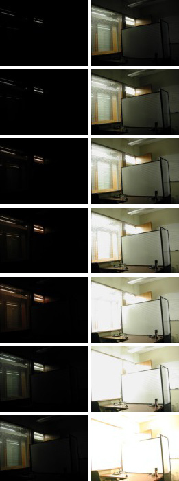The various images taken with different shutter speeds.
